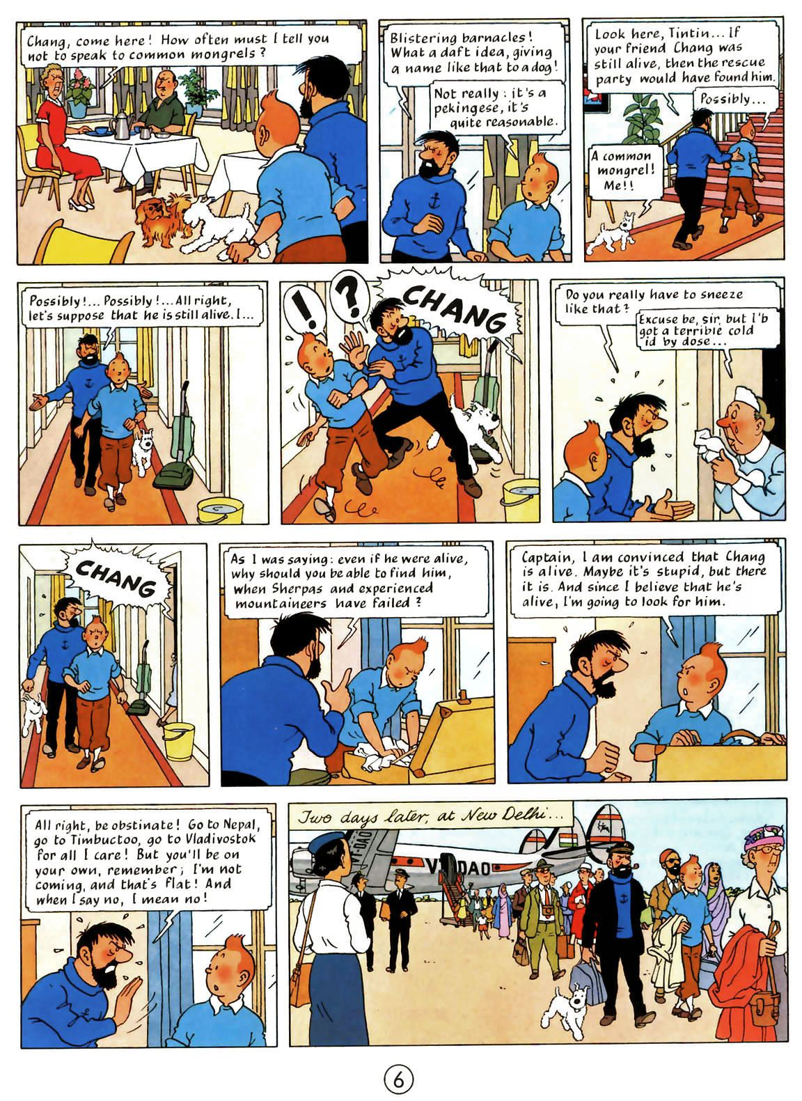 A Page Taken From Tintin In Tibet Tintin Argues With Captain As They Go On A Journey To Find Chang Tintin Comics Tibet