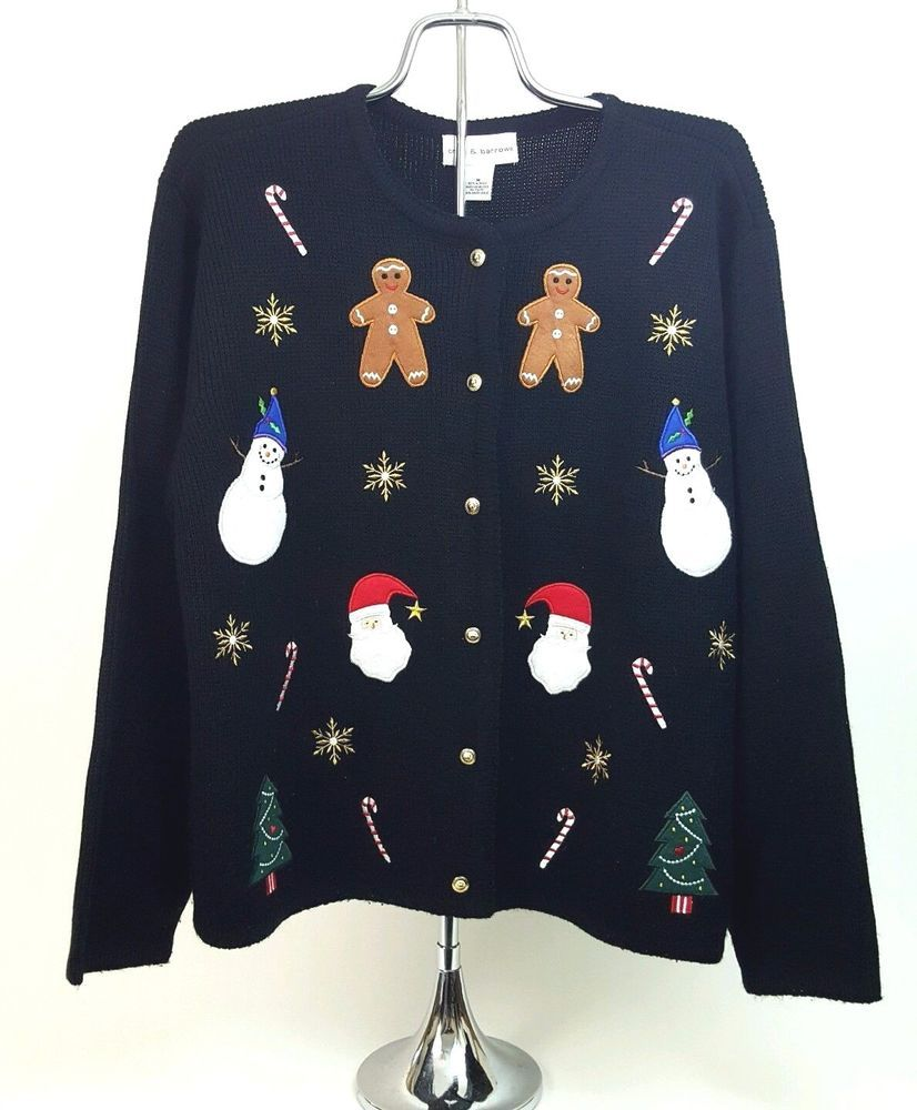 Womenus medium black ugly christmas sweater long sleeve acrylic