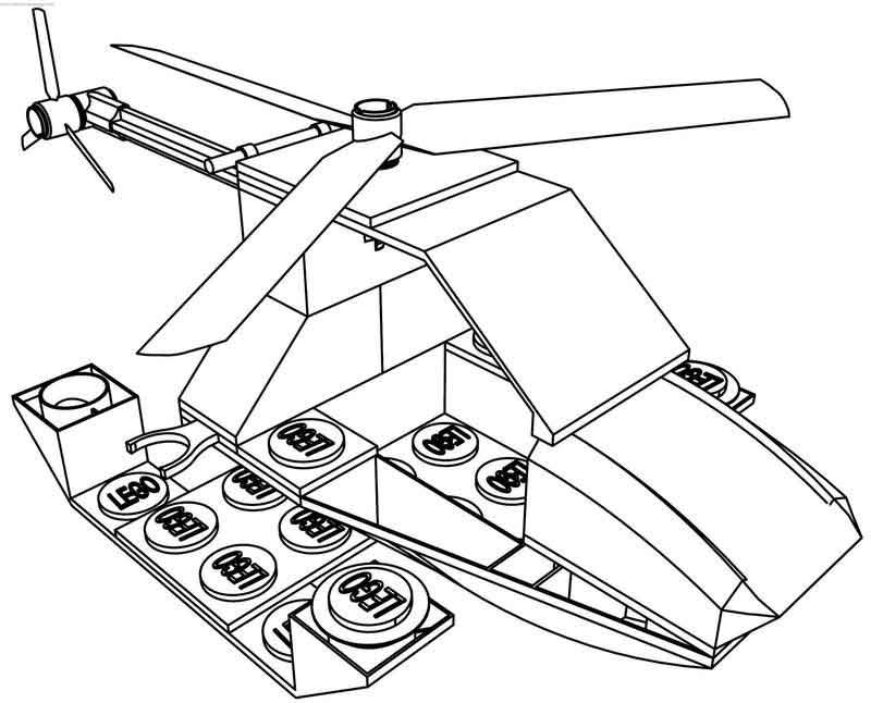 Lego Helicopter Coloring Page Lego Helicopter Coloring Pages Printable Coloring Book