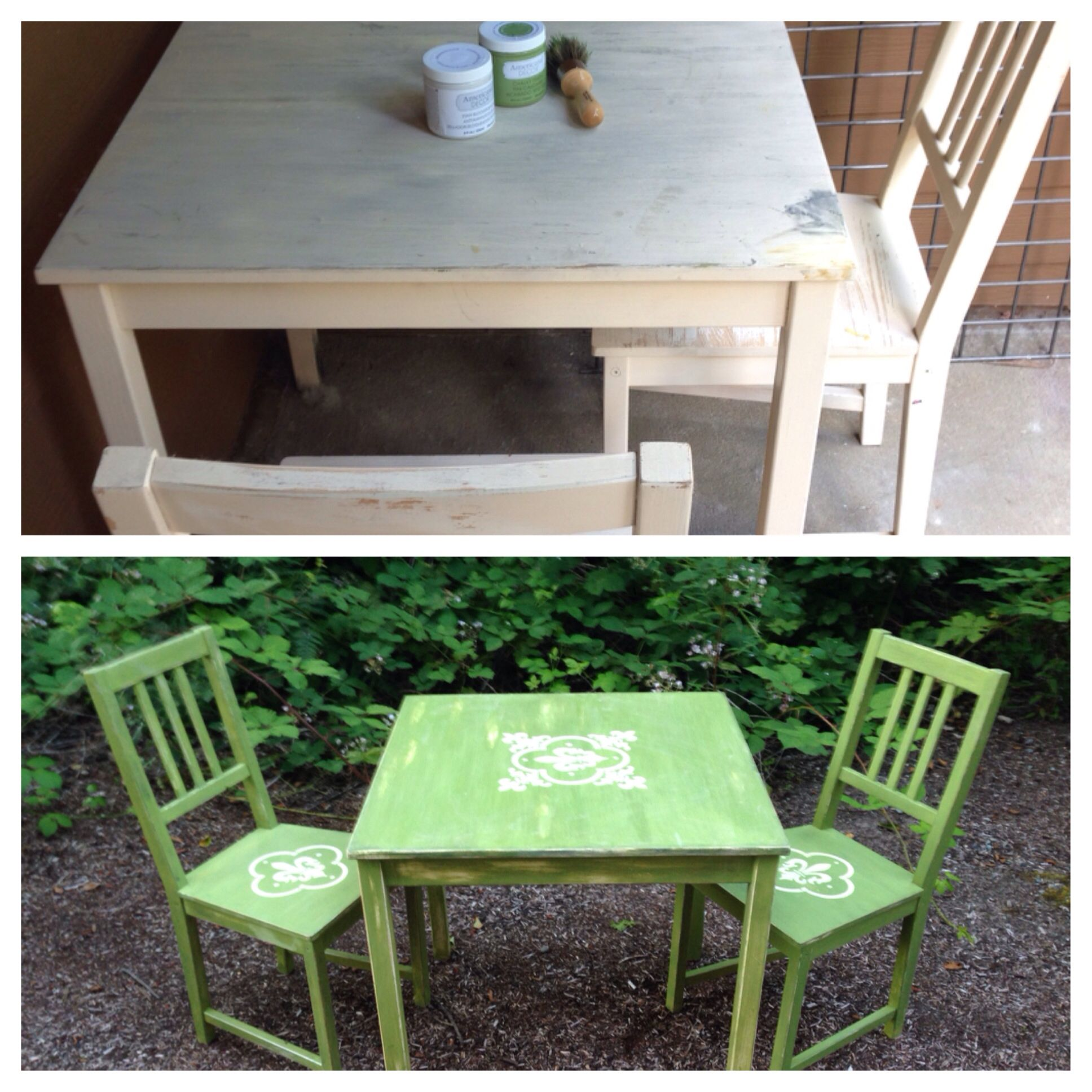 Rustic Green Table And Chairs   Painted With New Life Chalk Paint From  Americana Decor.
