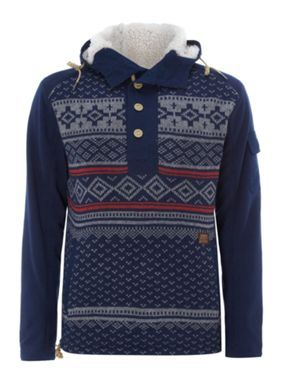 Duck and Cover Hooded xmas popover jumper Navy - House of ...