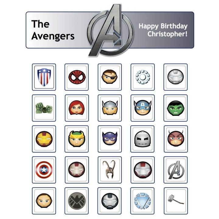 Avengers Bingo from Birthdays, Bingo, Invites, & More! for $5 on ...
