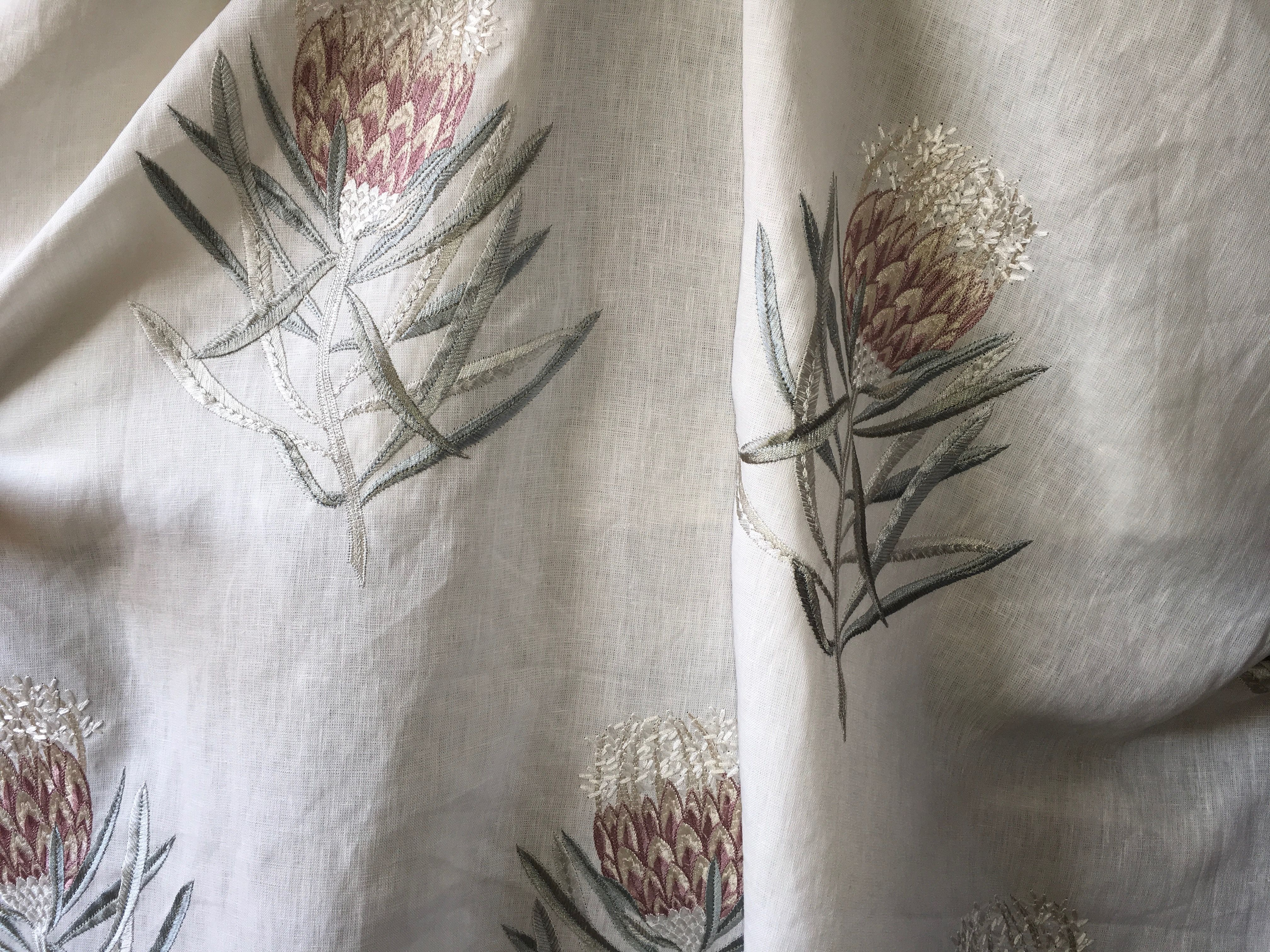 Sanderson Protea Flower Fabric In The Porcelain Orchid Colourway Fabric Trimmings Fabric Flowers Linen Fabric
