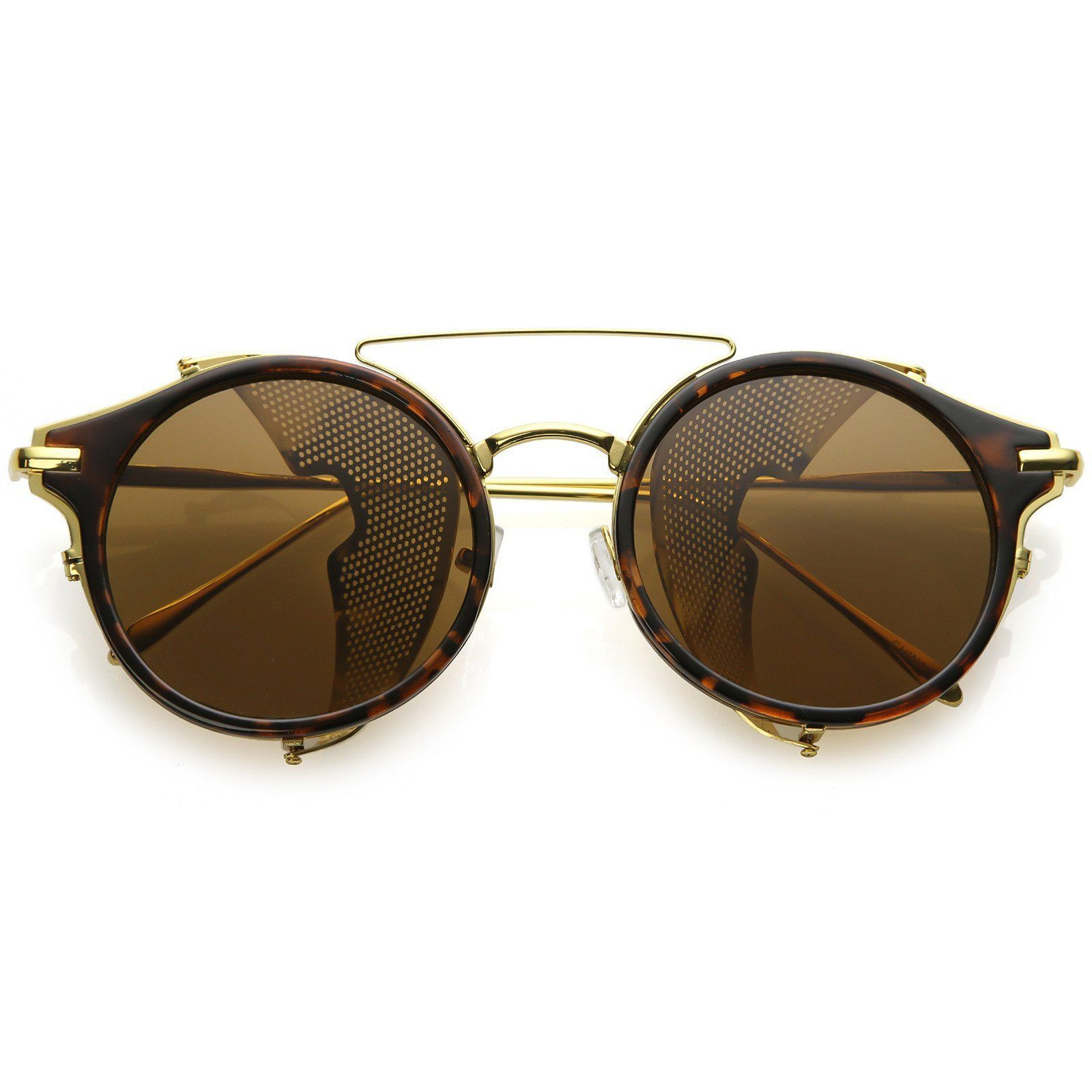 597b8aa9c20 Steampunk Round Horn Rimmed Sunglasses Double Crossbar Fold In Side Covers Flat  Lens 54mm  frame  sunglass  sunglasses  womens  sunglassla  cateye  mirrored  ...