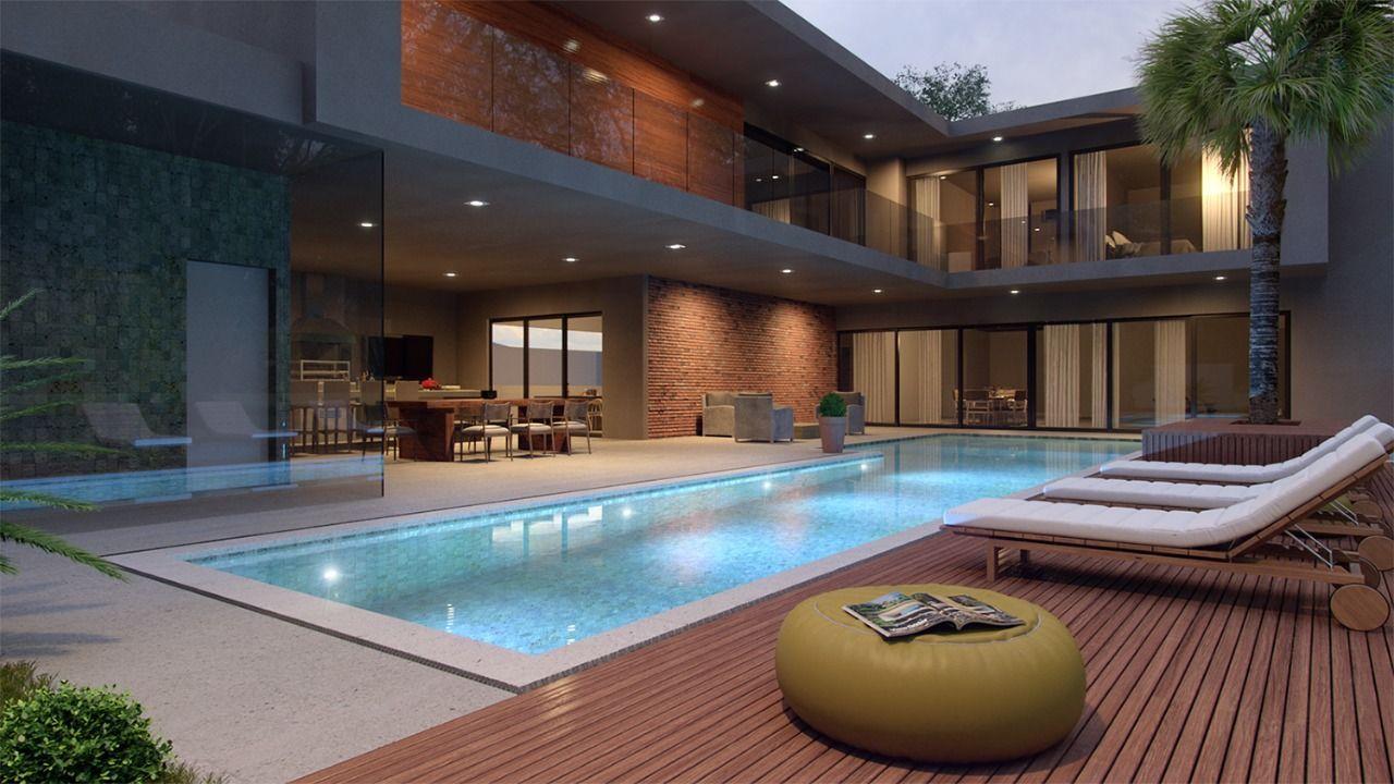 Aurora grei arquitetura cool house designs pool designs modern house design courtyard house