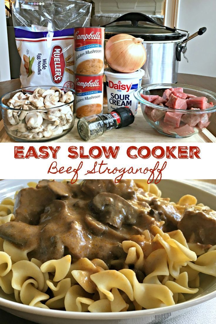 Slow Cooker Beef Stroganoff (Easy)