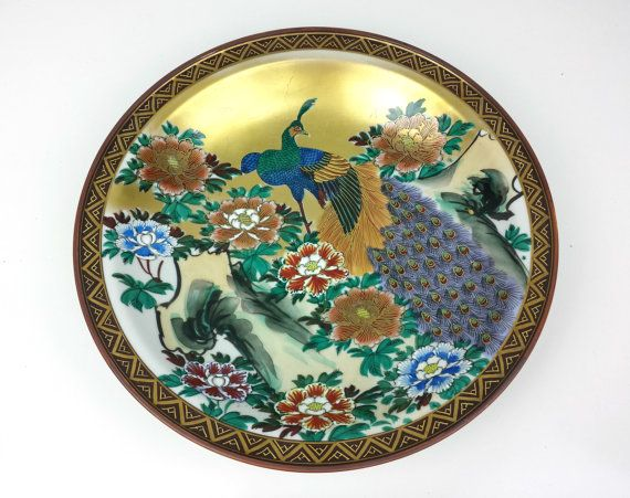 Large Decorative Chinese Peacock Plate Vintage by CurioBoxx