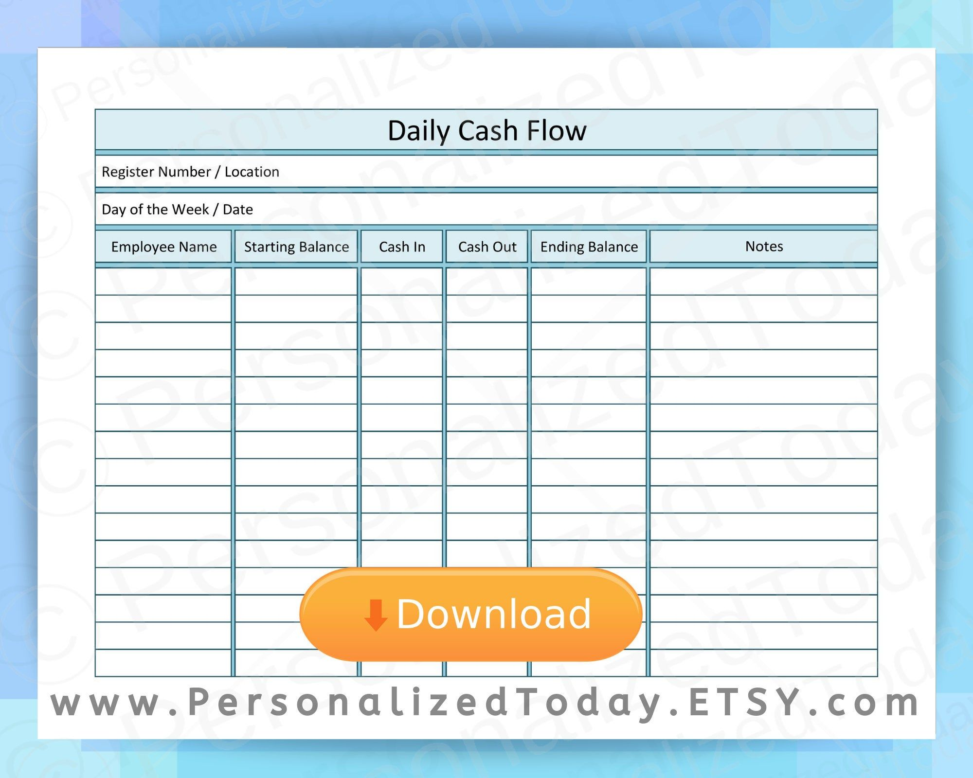 Business Daily Cash Flow Statement Report Register In Out Closeout