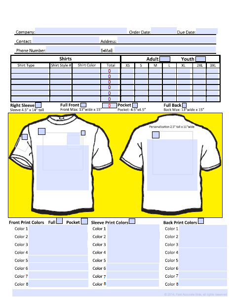 Download Free Screen Printing Order Form Screen Printing Order Form Template Order Form