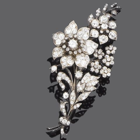 A late 19th century diamond spray brooch,