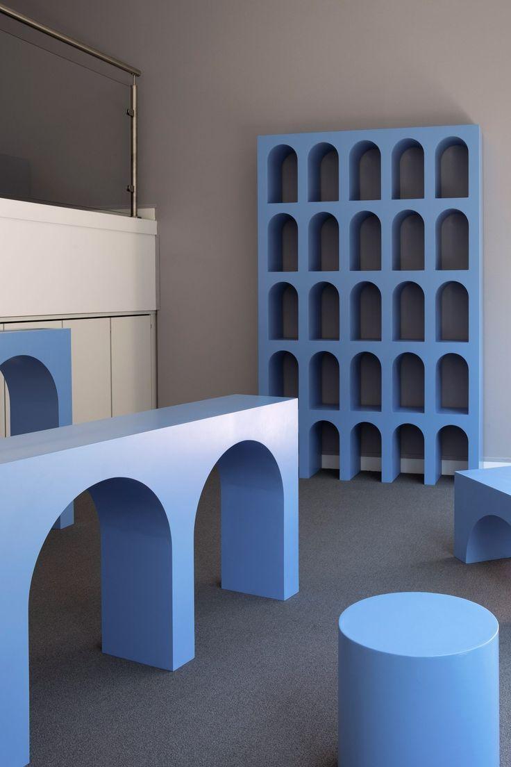 Matteo Pacella and Philippine Hamen design blue classical furniture