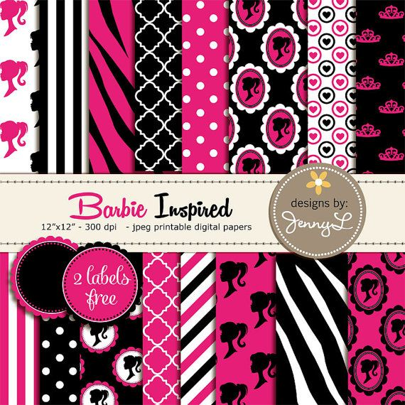 photo regarding Free Printable Barbie Silhouette identified as Scorching Crimson and Black Electronic Papers, Zebra Animal Print, Crown