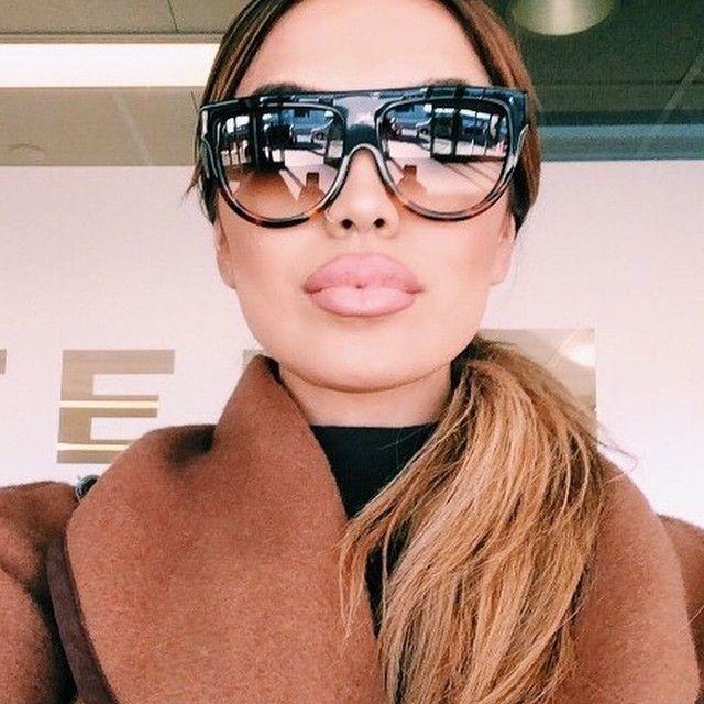 Designer Flat Top Aviators Square Oversized Gradient Big Sunglasses  Celebrity #Fashiondeals #Square