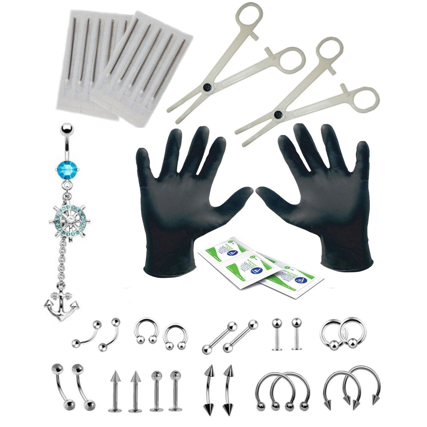 Tongue piercing areas  BodyJYou Body Piercing Kit Anchor Belly Ring Tongue Tragus Ear