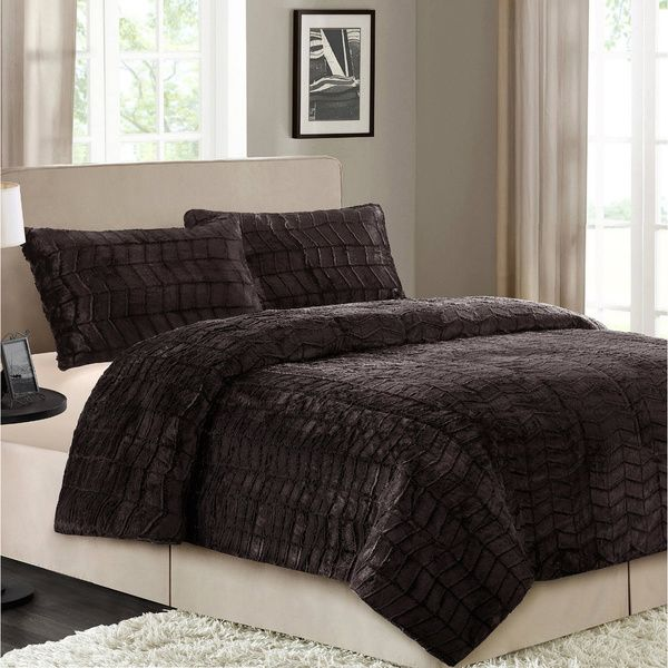 Better Homes And Gardens Faux Fur Chocolate Herringbone Queen Comforter Set    Overstock™ Shopping   Great Deals On Comforter Sets Photo Gallery