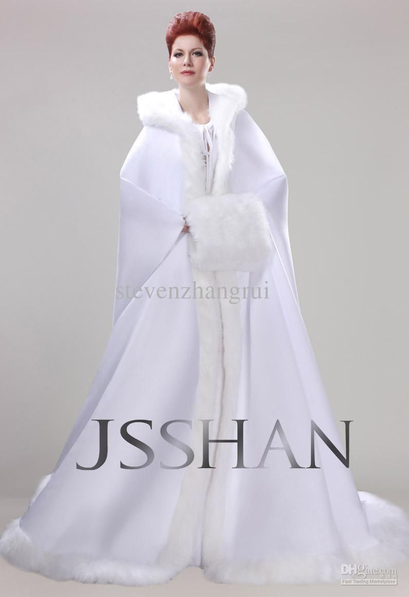 New Style Actual Image Winter Long Sleeves Wedding Dresses Hooded Cape Coat Bridal Gowns