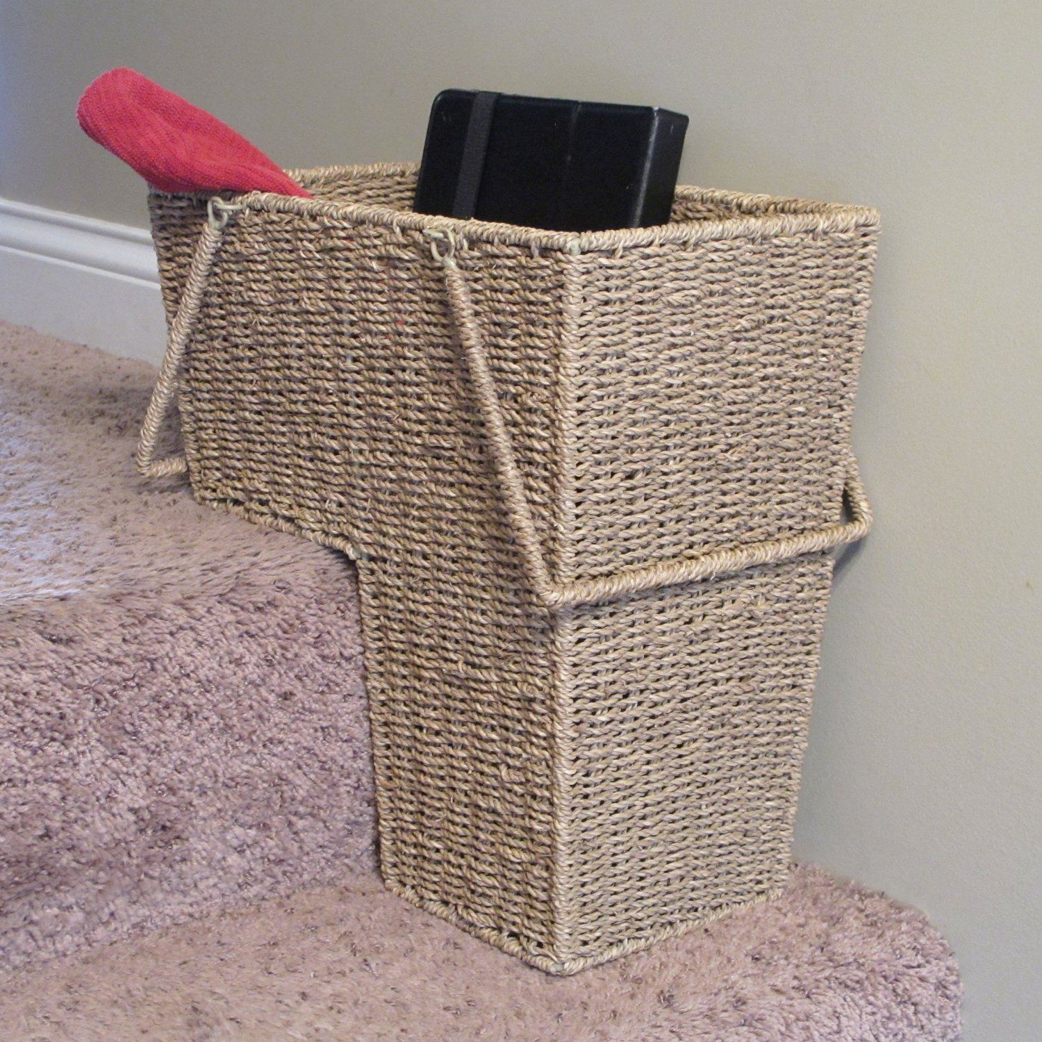 Amazon.com   Household Essentials Seagrass Stair Basket With Handle   Home Storage  Baskets