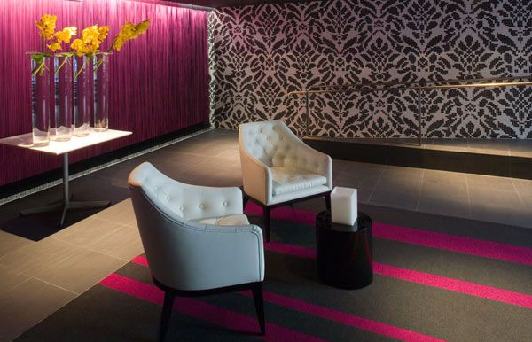 Hotel Interior Reception Interior Purple Amp Grey Striped