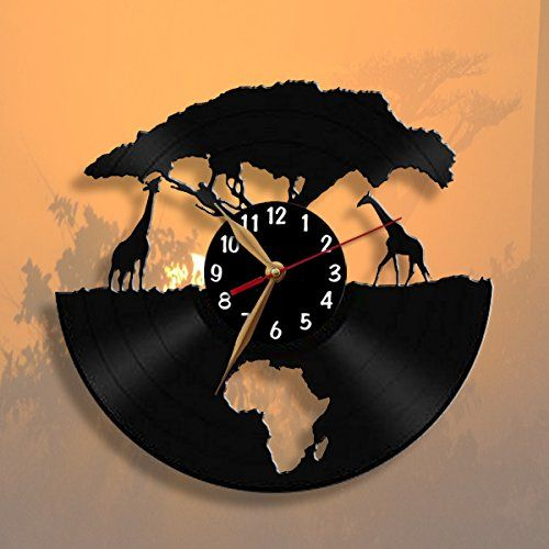 Africa Giraffes Clock Vinyl Record Wall Clock 12 Inch 30cm Modern Animals Black Wall Art Decor Black Clockfac Diy Clock Wall Clock Wall Art Diy Clock