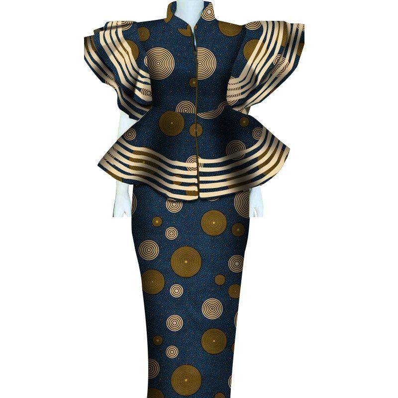 Women African Clothing Dashiki Bazin Riche Women Skirt Set Print Patchwork Customization Zipper Top| | - AliExpress