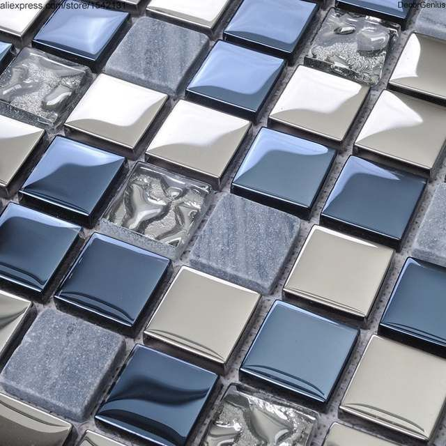 Blue Silver Swimming Pool Tile Blend Metal And Glass Stainless