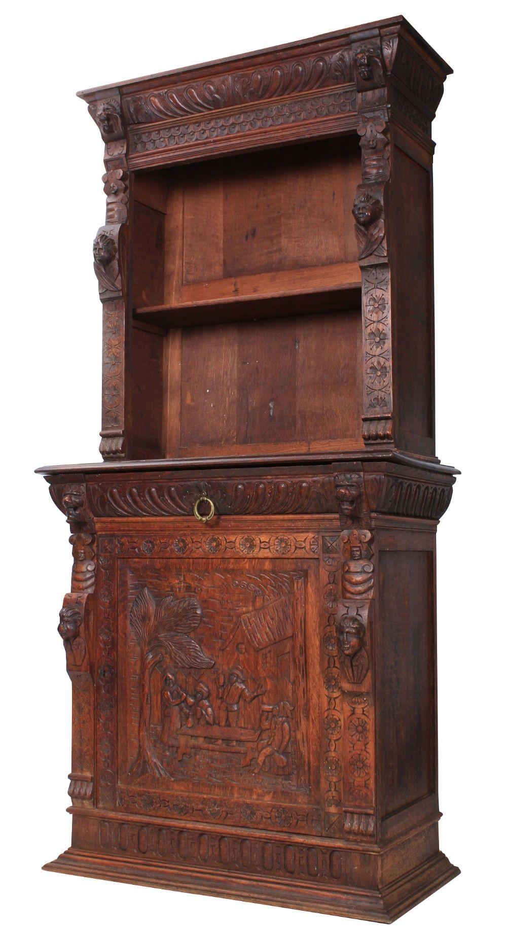 Carved Oak Bookcase 547736 Sellingantiques.co.uk