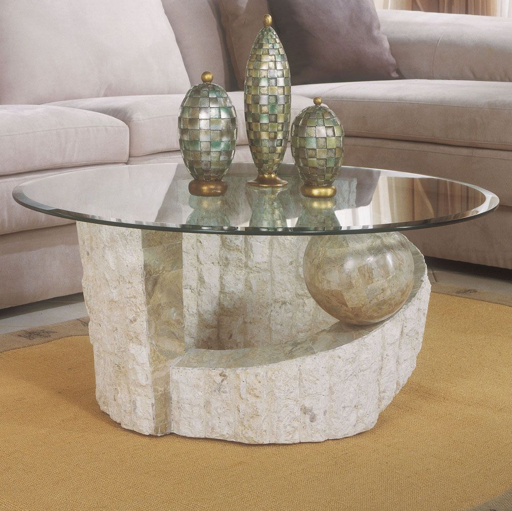 Glass Coffee Table Sets Clearance Ponte Vedra Stone Round Cocktail Table With Glass Top