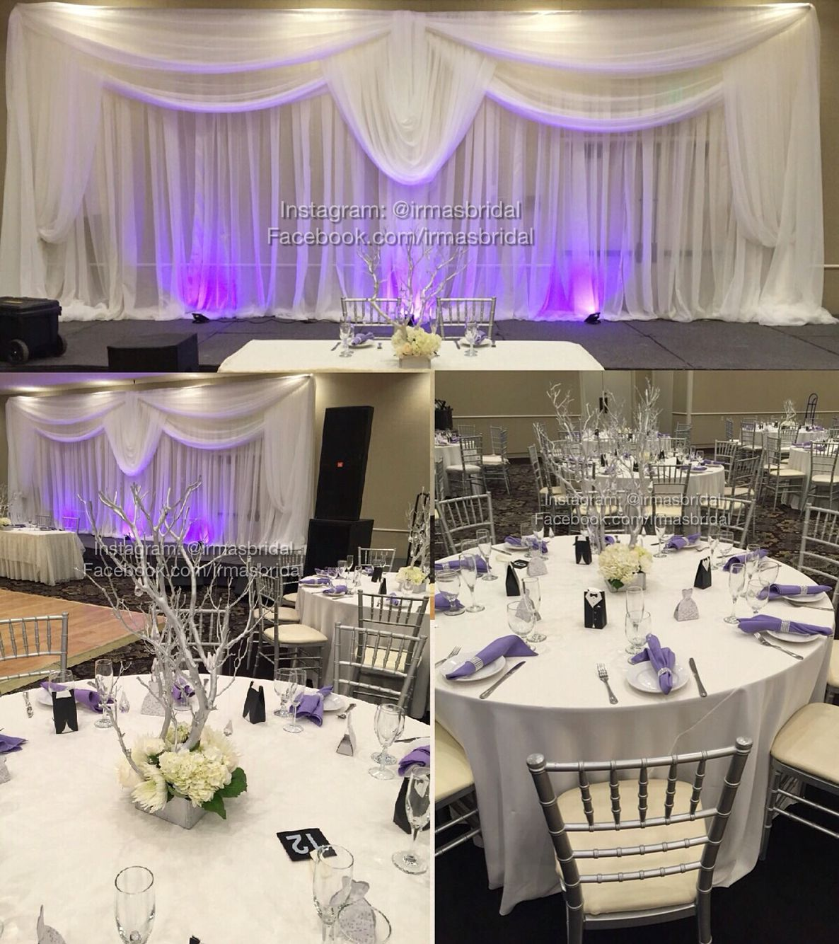 Beautiful White Silver And Lilac Wedding Decor With Backdrop Hall