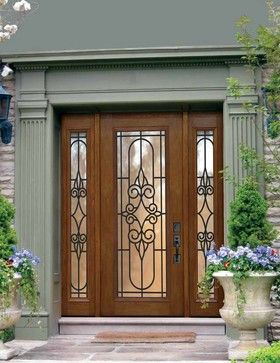 Wood Doors With Two Sid3lights Wrought Iron Wood And
