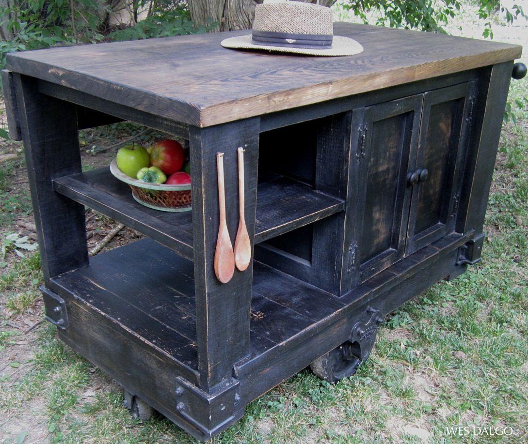 dark rustic kitchen island cart contemporary modern rustic kitchen rh pinterest com Rustic Wood Kitchen Island Tops Industrial Kitchen Trolley Cart