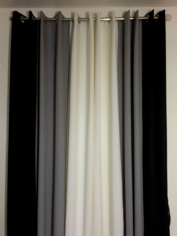 Eyelet Curtains Ringtop Fully Lined Pair Readymade Plain 3tone White Black Grey Ebay Black And Grey Curtains Curtains Black Curtains