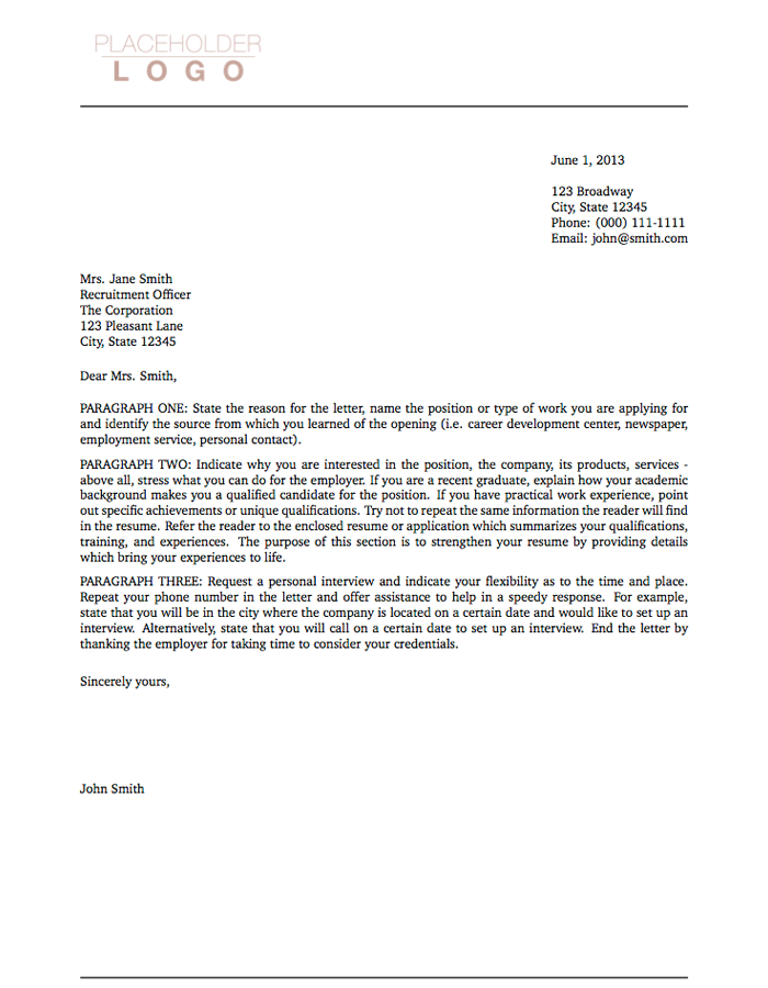 Letter of Transmittal Письмо Cover letter for resume