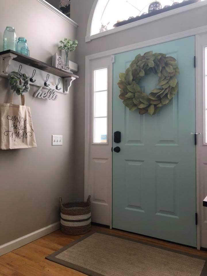 the door color is mystic sea by valspar walls are bm on valspar paint colors interior id=97926