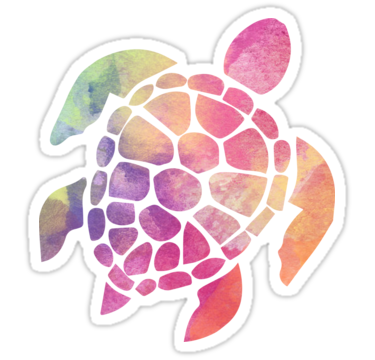 Turtle Sticker Lilly inspired swirl pattern tie dye for car truck and laptop