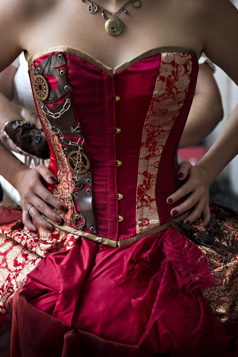 bafb012479 The red dress at this theatrical steampunk wedding is LIFE
