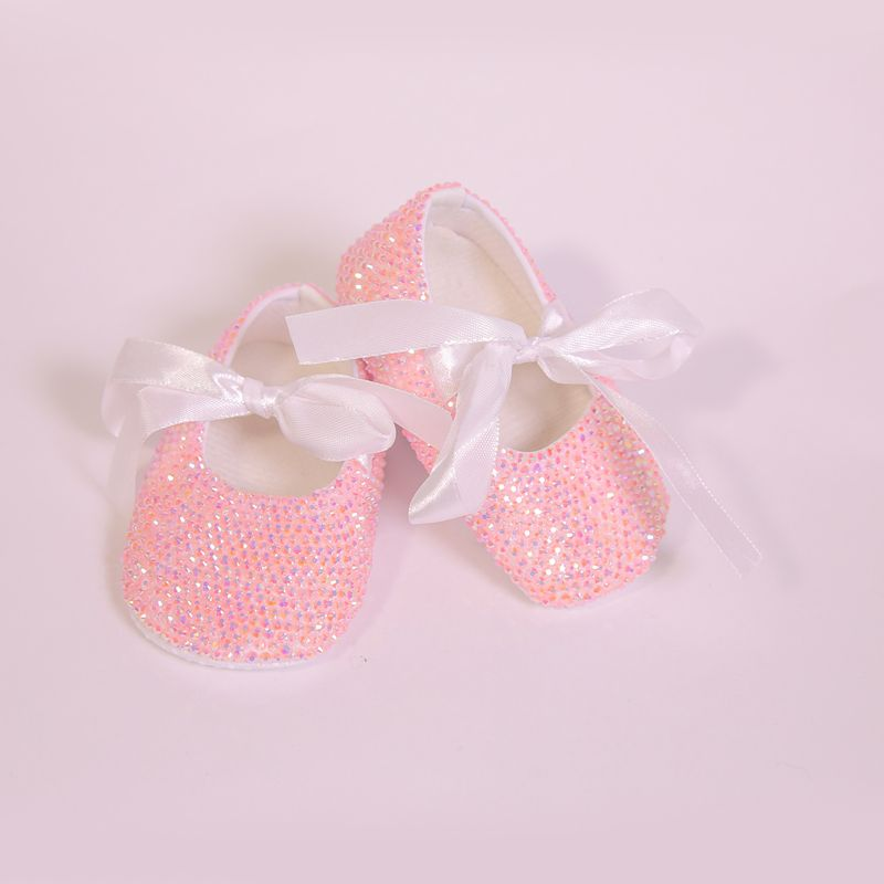 >> Click to Buy << Lovely Pink Rhinestone with White Ribbon Bow Ballerina Sparkle Custom Handmade Crib Shoes for Baby Gilrs #Affiliate