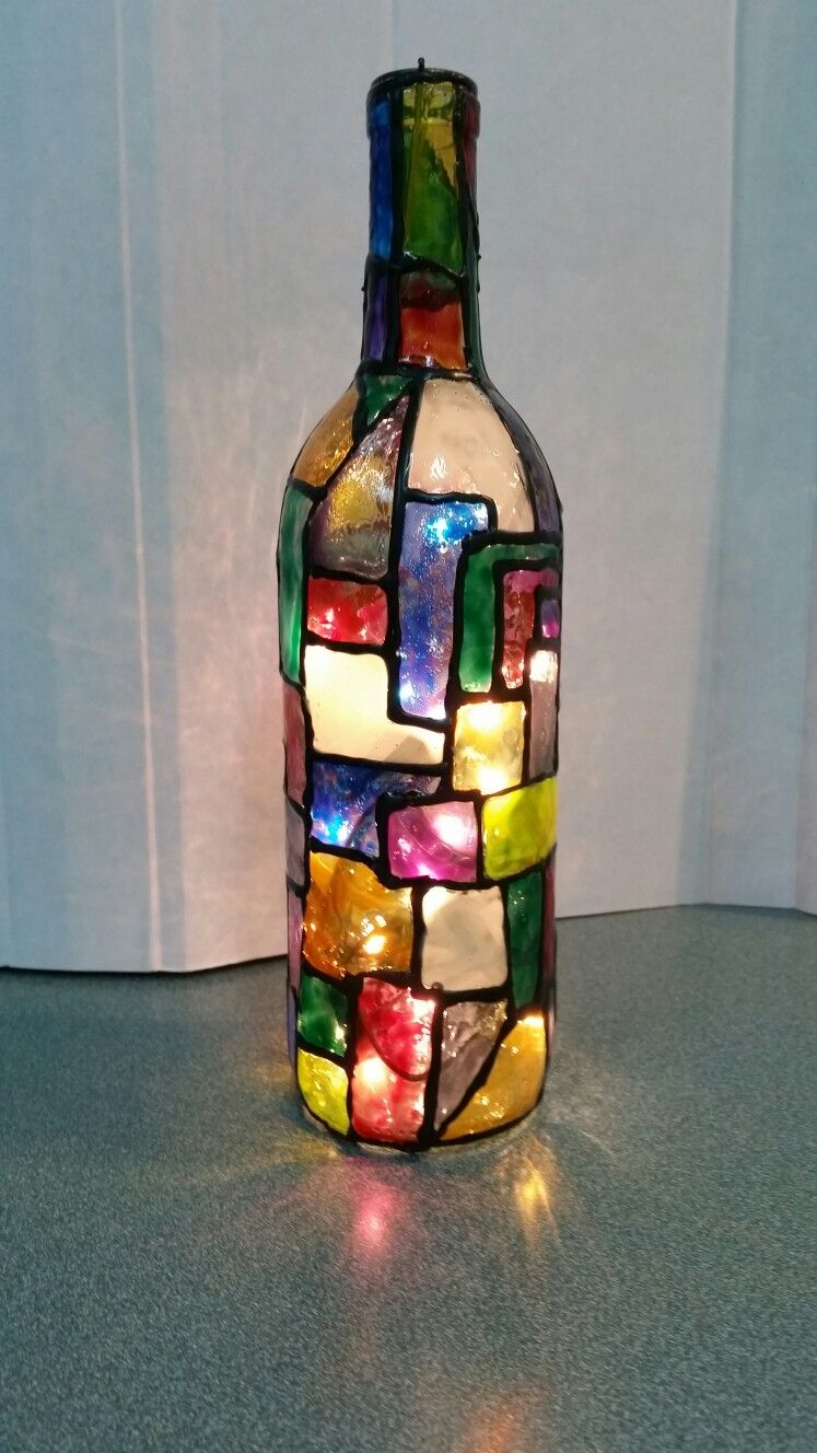 Stained Glass Look With Lights Painted Glass Bottles Painted