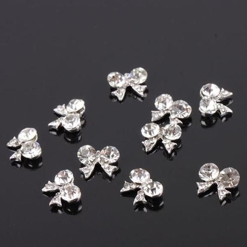 Photo of 10Pcs Bow Tie Fashion 3D Clear Rhinestone Glitter Slice DIY Nail Art Stickers – one size / as the picture