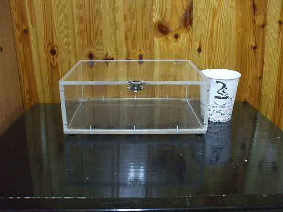 Large Clear Acrylic Box With Hinged Lid And Four Nickel Metal Legs