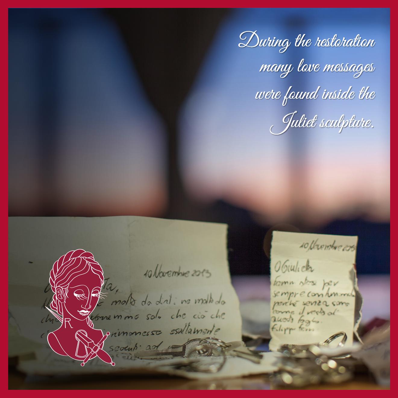 Durante il restauro diversi messaggi d'amore sono stati ritrovati dentro la scultura di Giulietta. @julietsecrets #julietsecrets #casadigiulietta #juliethouse #lovers