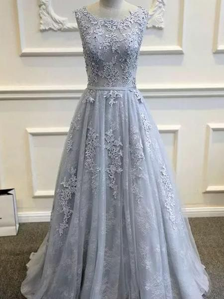 2795a8b778 Long Custom Gray VBack Scoop Tulle With Lace Appliques Party Prom