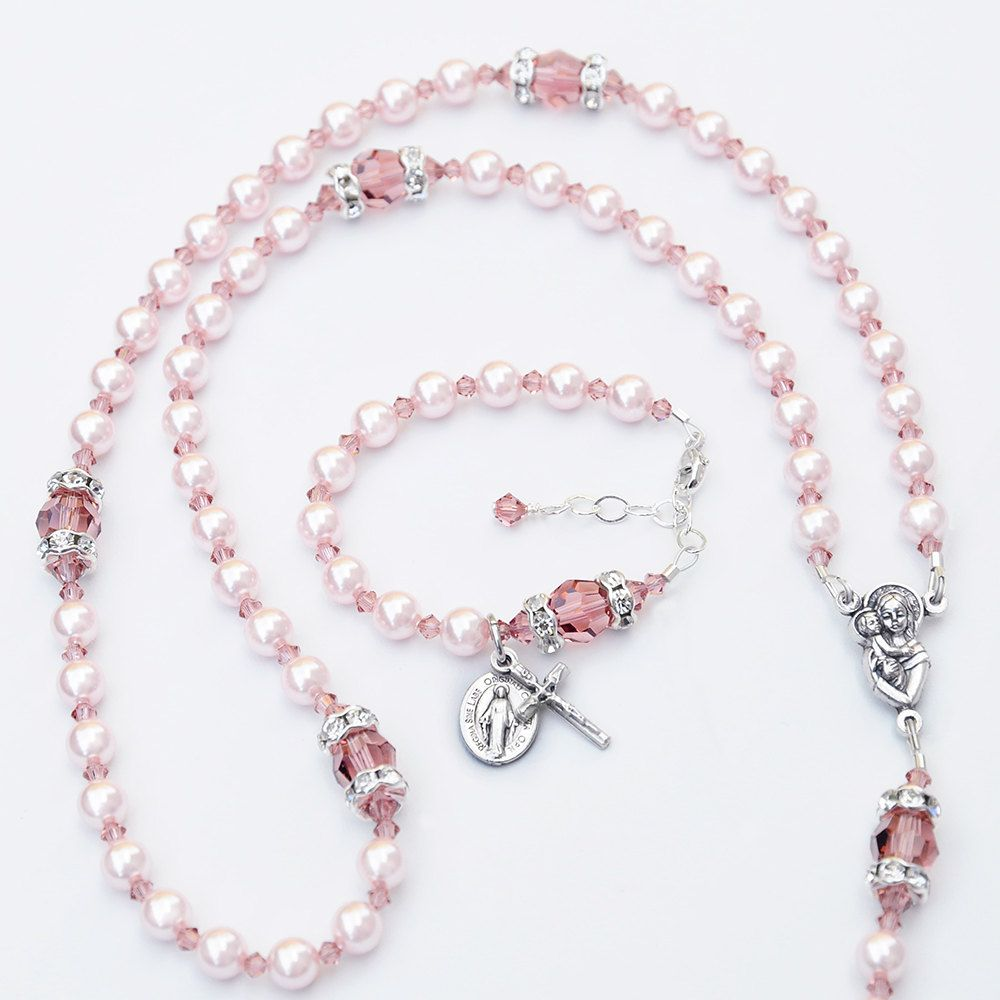 72ebaebb626ed Light Rosaline Pink Pearl and Blush Rose Pink Rosary and Matching ...