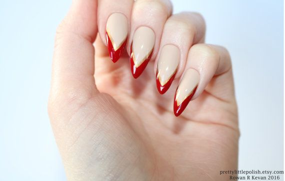 Image Result For Red And Gold Almond Nails Almond Nails Fun