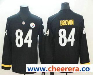 05bfa130e82 Men s Pittsburgh Steelers  84 Antonio Brown Nike Black Therma Long Sleeve  Limited Jersey