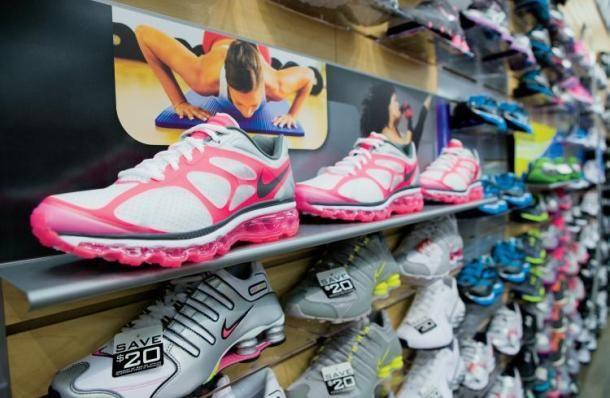 Pink Nike Running Shoes at Hibbett Sports in Jasper, Alabama.