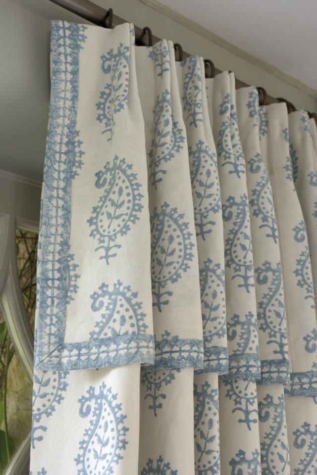 Attached Valance Drapery Soft Blue And