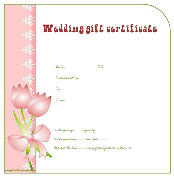Side Border Wedding Gift Certificate Template Beautiful Printable