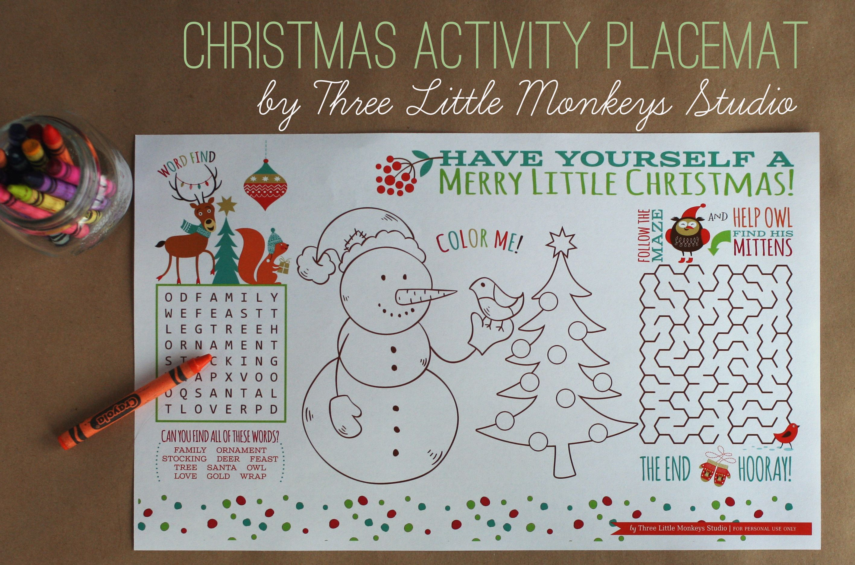 Christmas Activity Placemat Free Printable By