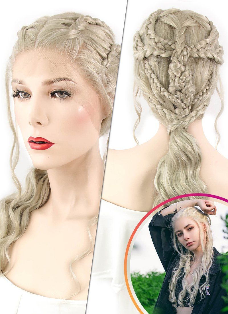 Light Ash Blonde Braided Lace Front Synthetic Wig LF2037 #lightashblonde