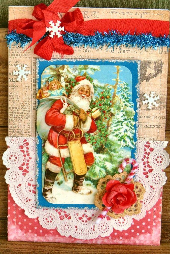 Great Christmas card using a vintage image Santa and snowflakes